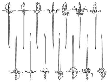 Ensemble d'images vectorielles monochromes simples d'épées et de rapières dessinées par des lignes.