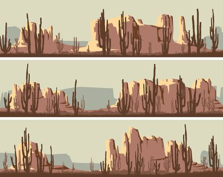 Set of vector banners of wild west desert area with rocks (Monument Valley) and cacti. Ilustração