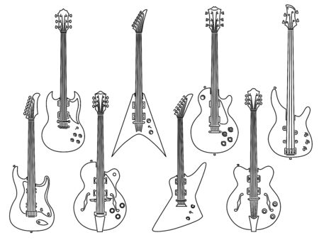 Set of simple stringed musical instruments of different types of electric guitars, bass, jazz, rock and heavy metal guitars drawn by lines.