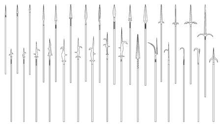 Set di semplici immagini vettoriali monocromatiche di lance e alabarde medievali disegnate da linee.