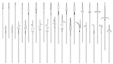 Set of simple monochrome vector images of medieval spears and halberds drawn by lines.