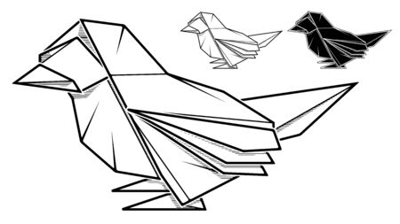Vector monochrome image of paper sparrow origami (contour drawing by line).