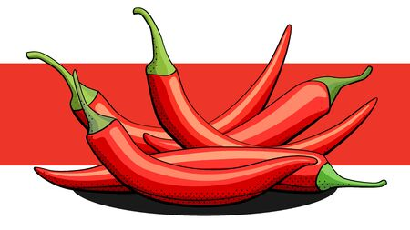 Vector simple illustration of spicy peppers with shadows on red line.