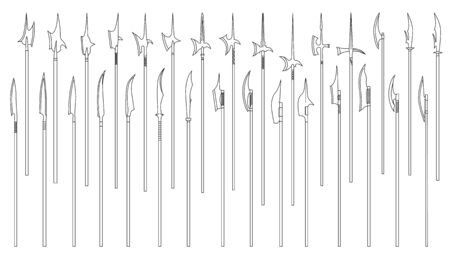 Set of simple monochrome vector images of medieval poleaxes and halberds drawn by lines.