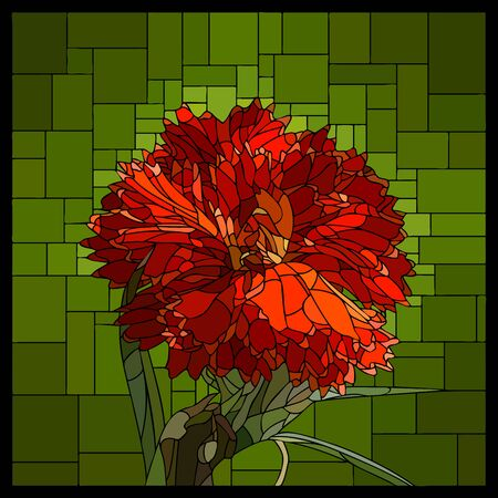 Vector angular mosaic with blooming carnation flower in stained glass window.
