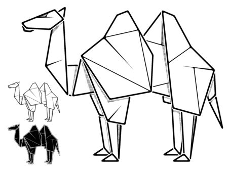 Vector monochrome image of paper camel origami (contour drawing by line).