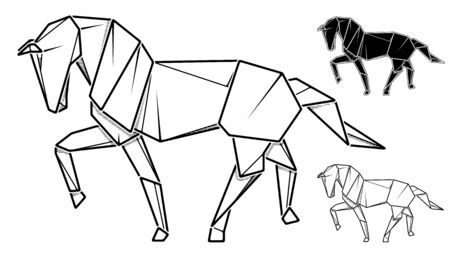 Vector monochrome image of paper horse origami (contour drawing by line).
