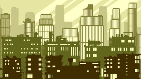 Cartoon horizontal illustration of a big city with roofs and windows lights, in green tone.