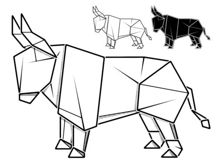 Vector monochrome image of paper bull origami (contour drawing by line).  イラスト・ベクター素材