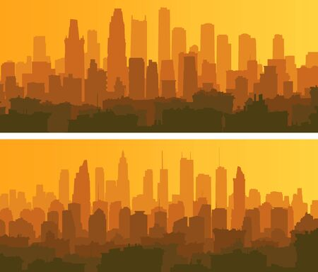 Set of horizontal banners of a big city with roofs of houses and skyscrapers at sunset.