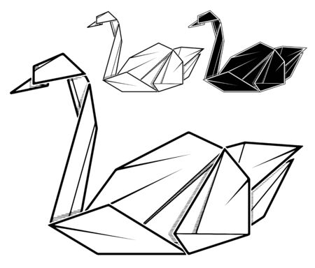 Vector monochrome image of paper swan origami (contour drawing by line).