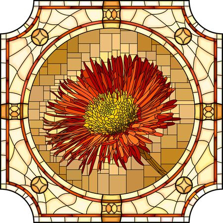 Vector mosaic with blooming red erigeron flowers in a round stained glass frame.  イラスト・ベクター素材