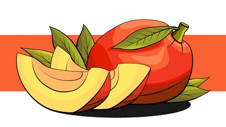 Vector simple illustration of mango with slices on a red stripe.