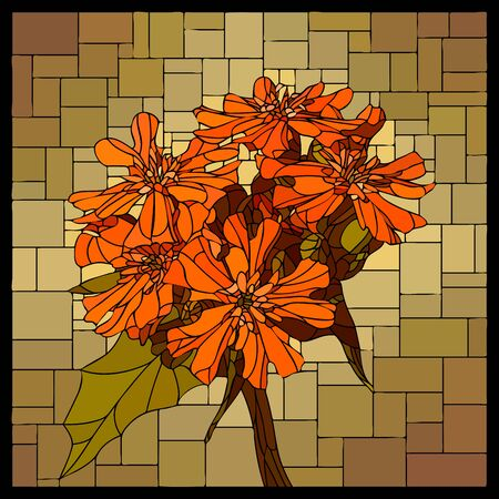 Vector angular mosaic with blooming red lychnis flower in stained glass window.  イラスト・ベクター素材
