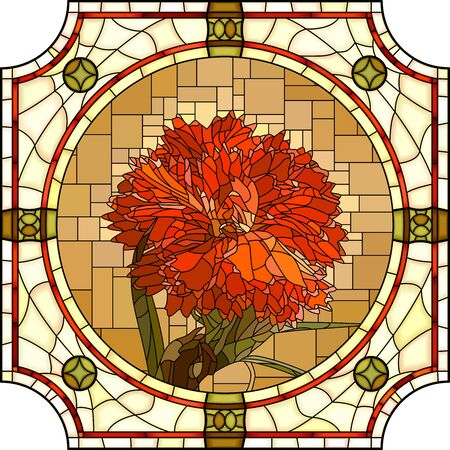 Vector mosaic with blooming red carnation flowers in a round stained glass frame.  イラスト・ベクター素材