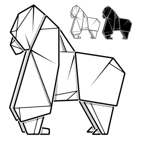 Vector monochrome image of paper gorilla origami (contour drawing by line).  イラスト・ベクター素材