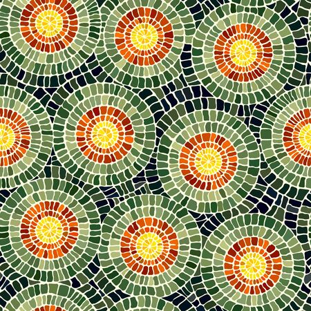 Seamless vector stone mosaic pattern with yellow circles inside green.