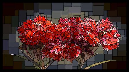 Vector angular mosaic with blooming red carnations flowers in stained glass window.  イラスト・ベクター素材