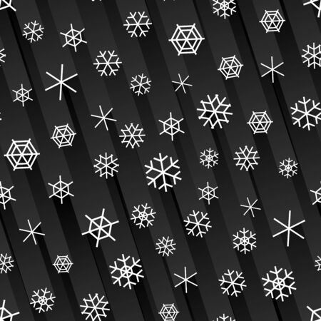 Seamless black night background with falling snowflakes and stripes of light behind.