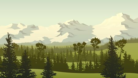Horizontal landscape illustration with green grassy meadow hills with coniferous forest tops and rocky mountains.