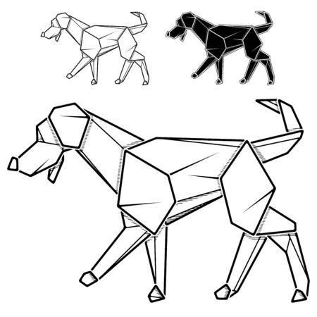 Vector monochrome image of paper origami of dog, labrador (contour drawing by line).  イラスト・ベクター素材