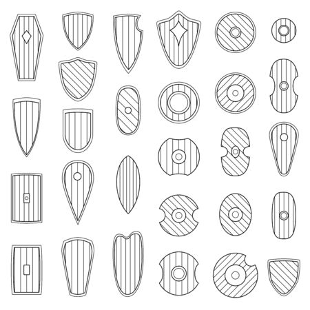 Set of simple monochrome vector images of medieval shields and bucklers drawn by lines.