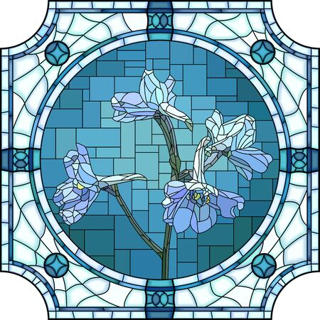 Vector mosaic with blooming blue delphinium flowers in a round stained glass frame.  イラスト・ベクター素材