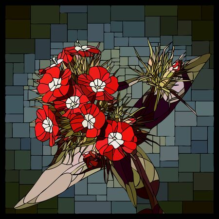 Vector angular mosaic with blooming small red-white carnations flower in stained glass window.