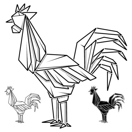Vector monochrome image of paper rooster origami (contour drawing by line).