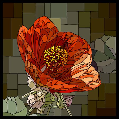 Vector square mosaic with blooming red abutilons flower in stained glass window.