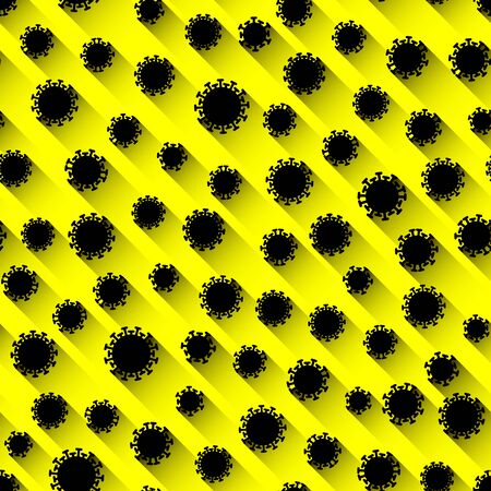 Seamless biohazard warning pattern with black signs of coronavirus on a yellow background. Viral attack. Illustration