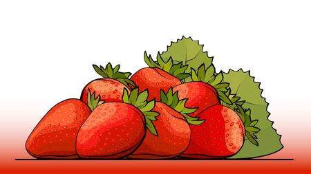 Vector simple illustration a group of strawberry on a line (side view).