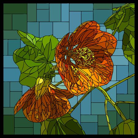 Vector square mosaic with two blooming orange abutilon flowers in stained glass window.