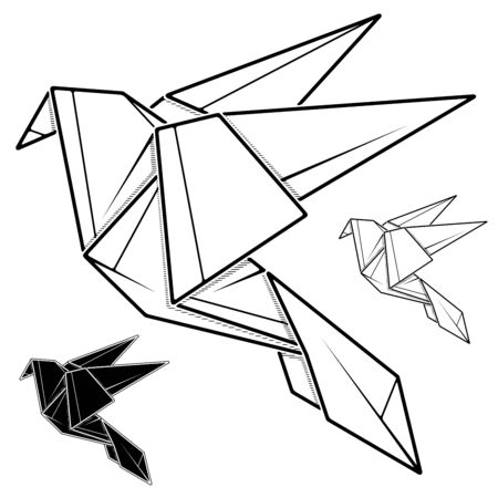 Vector monochrome image of paper dove origami (contour drawing by line).