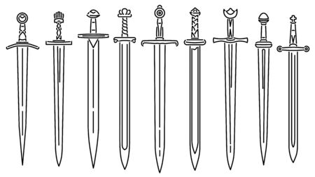 Set of simple vector images of medieval short swords drawn in art line style.
