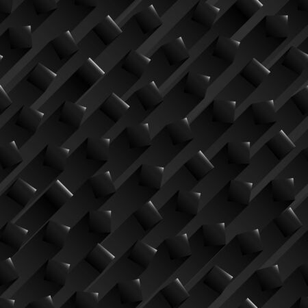 Seamless abstract black background with black glossy square shapes with a stripe of shadows behind.