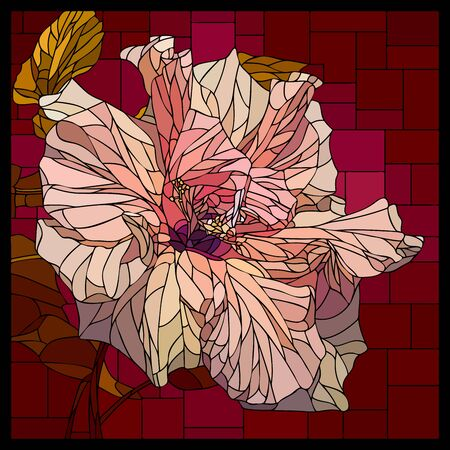 Vector square mosaic with blooming cream pink hibiscus flower in stained glass window.  イラスト・ベクター素材