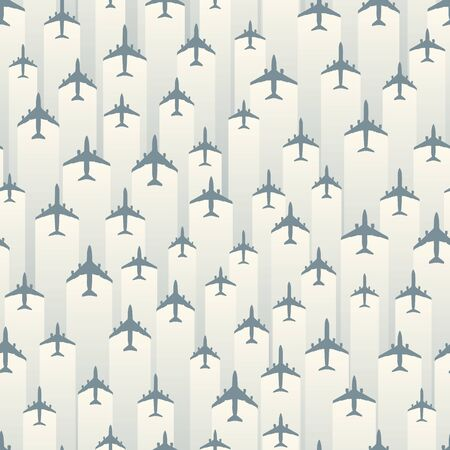Seamless white blue  with airplanes and stripes of light behind.