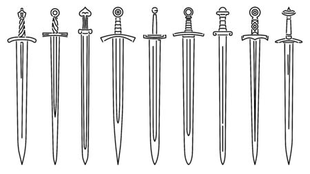 Set of simple vector images of medieval long swords drawn in art line style.  イラスト・ベクター素材