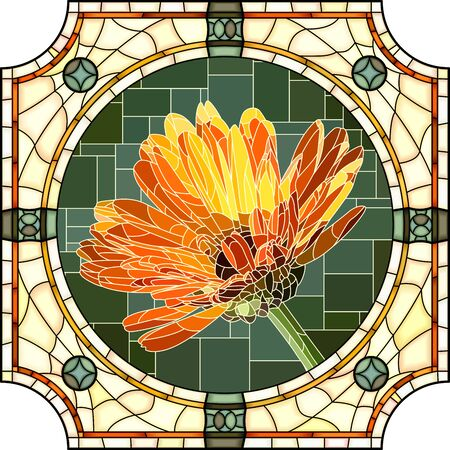 Vector mosaic with blooming orange calendula flowers in a round stained glass frame.