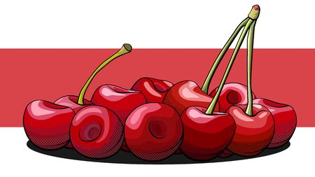 Vector simple illustration of a group of cherry berries on a label.