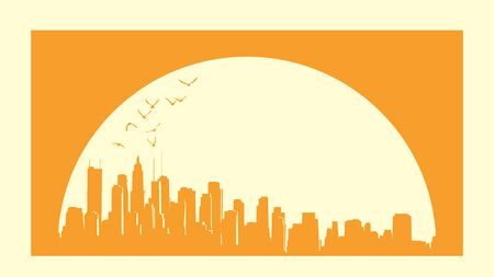 A simple monochrome card with the sunset behind an abstract big city and skyscrapers with glare from the sun and birds (with place for text).