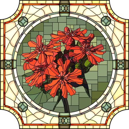 Vector mosaic with blooming red lychnis flowers in a round decorative stained glass frame.