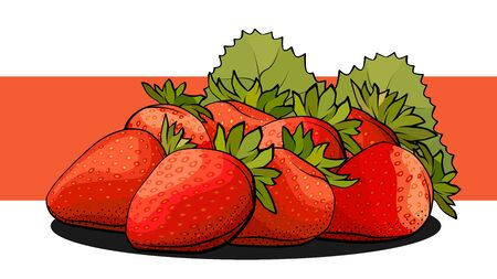Vector simple illustration of a group of strawberries on a label.