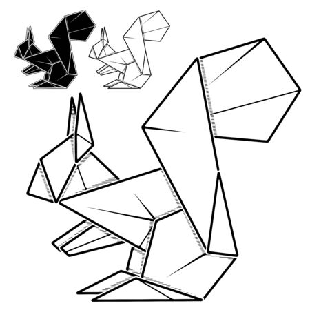 Vector monochrome image of paper squirrel origami (contour drawing by line).