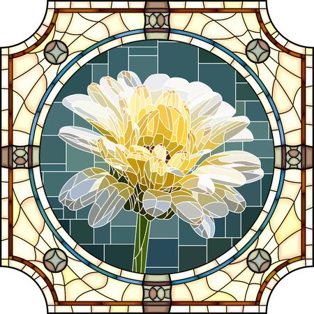 Vector mosaic with blooming white calendula flowers in a round stained glass frame.