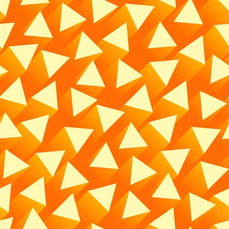 Seamless abstract orange background with triangular shapes with a streak of light behind.