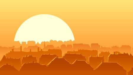 Horizontal vector illustration of an old historical part of the European city and a roofs reflecting rays of the setting sun (with place for text).  イラスト・ベクター素材