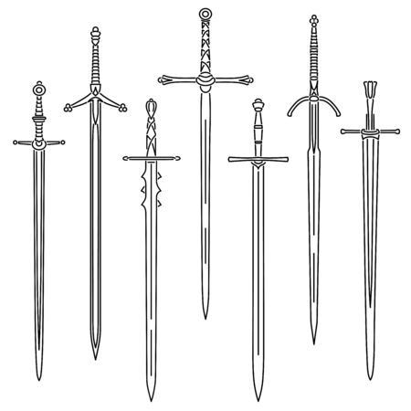 Set of simple vector images of medieval two-handed swords drawn in art line style.