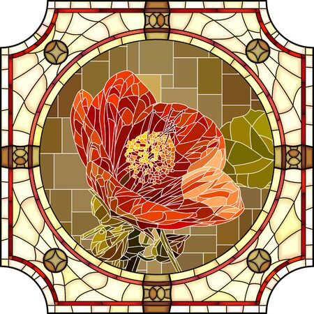 Vector mosaic with blooming red abutilon flowers in a round decorative stained glass frame.